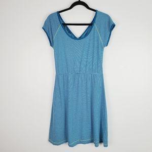 prAna Faith Blue Striped Short Sleeve Dress